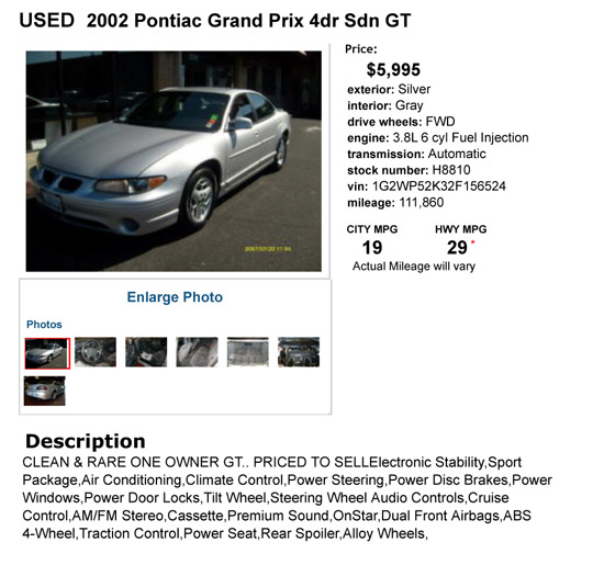2002 Pontiac Grand Prix 4dr Sdn GT Silver Sedan 4 Dr.. A Pontiac